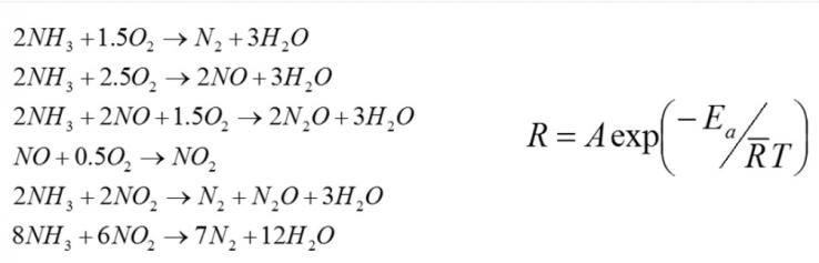 Рис. 2. Слева: реакции AOC, смоделированные в GT-SUITE. Справа: уравнение Аррениуса для скоростей реакции.