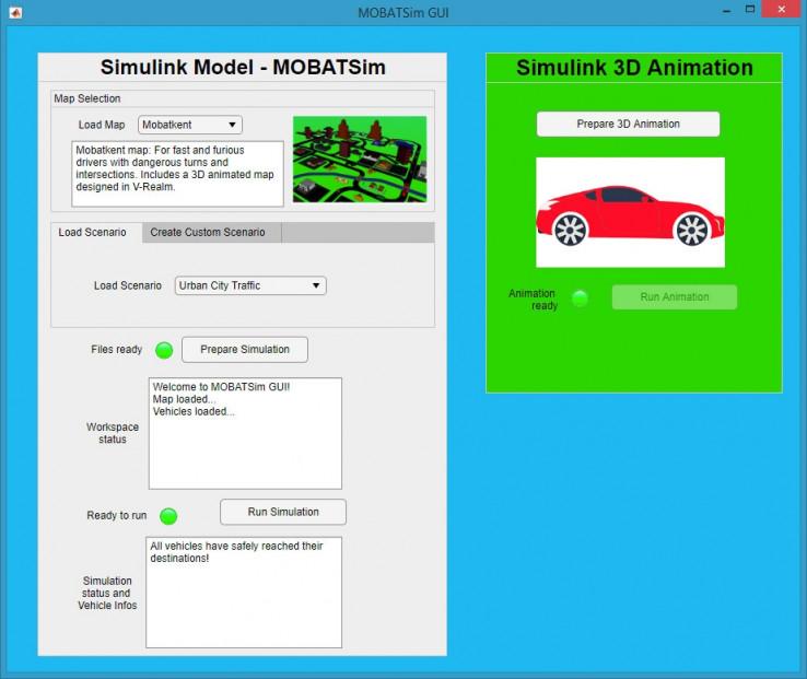 Рисунок 3. Интерфейс MOBATSim для настройки и инициирования запусков моделирования, разработанный совместно с MATLAB App Designer.