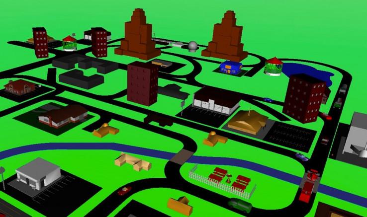 Рисунок 5. Имитированный сценарий вождения, созданный с помощью 3D-анимации Simulink.